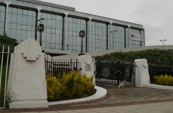 Firestone factory main gates with Sky TV